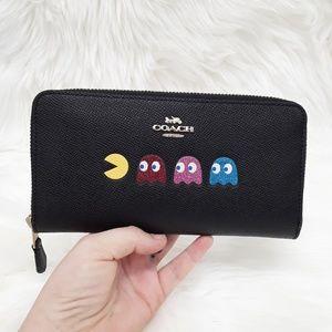 NWT Coach Pacman Ghosts Accordion Zip Wallet Black
